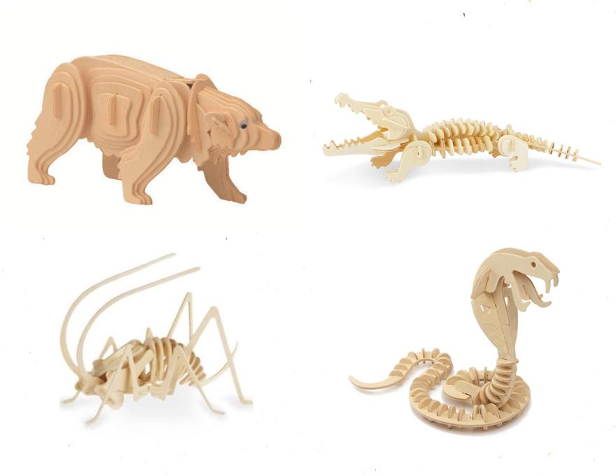 Pack of 3D wooden puzzles Animals