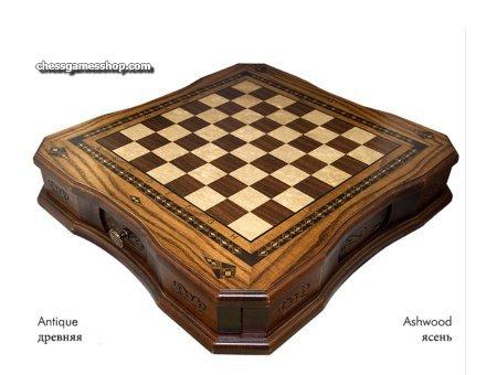 Šahovnica s predalom za figure Antika