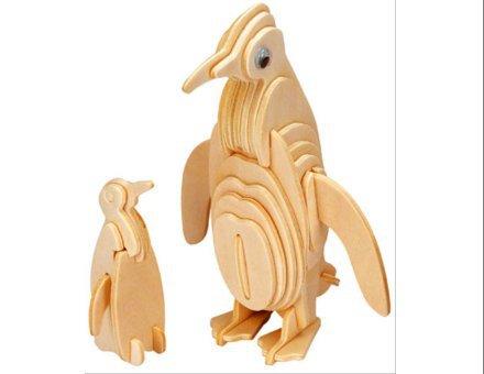 Lesena 3D sestavljanka Pingvin